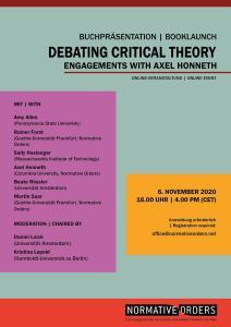 """Buchvorstellung """"Debating Critical Theory. Engagements with Axel Honneth"""" @ Veranstaltung virtuell und auf Englisch"""