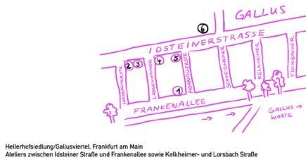Trottoir- wunderbar! Schaufenster Ausstellung 4 @ Hellerhofsiedlung/Gallusviertel. Frankfurt am Main Ateliers zwischen Idsteiner Straße und Frankenallee sowie Kelkheimer- und Lorsbach Straße